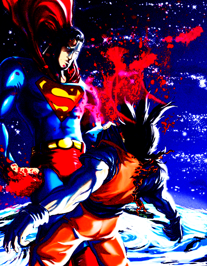 Superman vs Goku com Clark vencendo